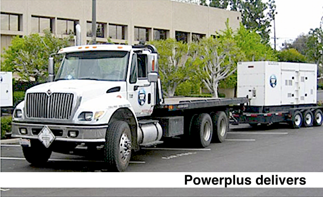 Truck delivers industrial emergency power standby generator for a business in need.